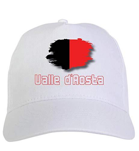 Cappellino Bianco regione Valle d'Aosta Italia Bandiera Chiusura Velcro - Sportivo Ultras, in Poliestere, 5 Pannelli Slogan