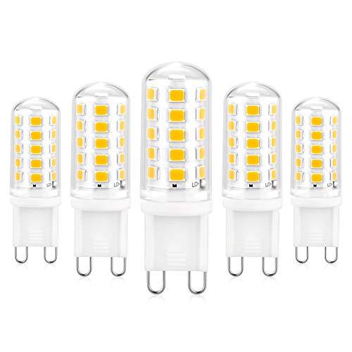 G9 LED Lampadina Dimmerabile, Lampadina G9 con 5W 5 Pezzi Bianco Caldo 3000K 550LM, Equivalente di Lampadina Alogene da 50W, Nessuno sfarfallio, 360 Angolo a Fascio Lampadine a Risparmio Energetico