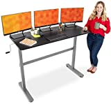 Stand Steady Tranzendesk 55 Inch Standing Desk | Easy Crank Height Adjustable Sit to Stand Workstation | Modern Ergonomic Desk Supports 3 Monitors | Great for Home & Office! (Black Top/Silver Frame)