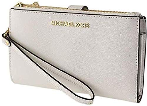 41q+WGOu+iL Made of PVC/polyester/cotton/polyurethane; trim: leather; lining: polyester; 2 top zip & magnetic-snap tab closures 7 interior credit card slots; 3 slip pockets and 1 phone pocket; fits all phone large size; 6 Inches wrist strap Gold or Silver tone hardware