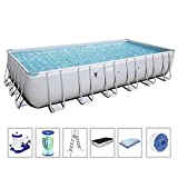 Bestway 56477E Power Steel Rectangular Above Ground 24ft x 12ft x 52in Backyard Frame Pool Set | for Families, 24' x 12' x 52'