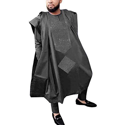 HD African Attire for Man Fashion Dashiki Rhinestone-Studded Pattern Agbada 3 Pieces Robe,Black 4XL