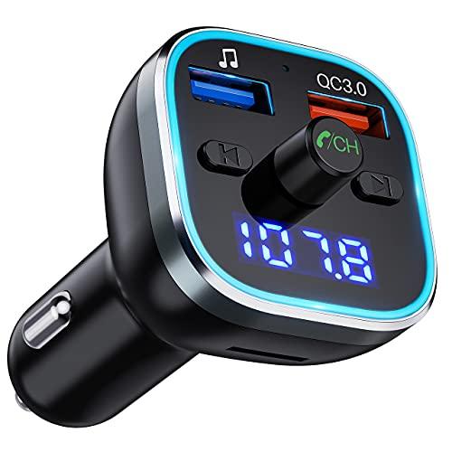 Transmetteur FM pour Voiture Bluetooth 5.0, Adaptateur de Voiture Bluetooth pour Radio Raisper QC3.0 Transmetteur FM Bluetooth pour Voiture, Support FM Transmetteur U Disk/TF Card