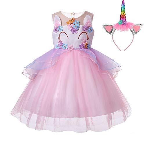 Pretty Princess Vestido para niña Unicornio Disfraz Cosplay 2PCS Princesa Fiesta de Halloween Navidad Cumpleaños 7-8 años