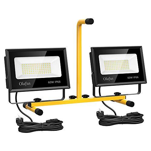 Olafus 120W LED Baustrahler mit Ständer, Arbeitsleuchte 13000LM IP66 Wasserdicht Bauscheinwerfer mit Schalter, Arbeitsscheinwerfer 5000K Tageslichtweiß Strahler Fluter für Werkstatt, Baustelle