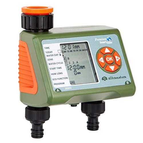 Ultranatura Doppel-Bewässerungscomputer mit LC-Display, ideal zur Blumenbewässerung, Rasenbewässerung etc, Bewässerungssteuerung mit Zwei Ausgängen und Vier Bewässerungszyklen