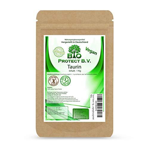 Taurin Pulver 1 Kg 100{d2bf1247d808964a08a77440c330fc7ee68cd0651fb2148d7027aaad57133b0e} rein ohne Zusatzstoffe! 1000g reines Taurin ohne Magnesiumstearat - Bio Protect BV Premium Nahrungsergänzungsmittel