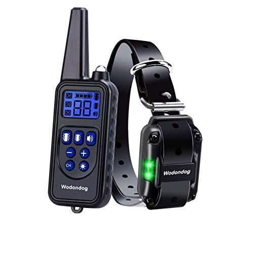 Wodondog Hundehalsband,Hunde Vibration shalsband, 100{2c3a96c6505063a76cf5e007d502aa2df75e7f35972f1b3a747842c5e24c85f1} wasserdichtes Halsband mit starken Vibrationen, Vibration, Beep-Modus, Kein Schock für Ihren Hund, 500 Meter Reichweite