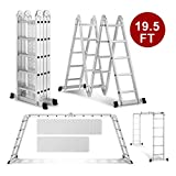 Heavy Duty Gaint Aluminum Multi Purpose Folding Ladder Scaffold Ladders with 2 Platform Plates- 330Lbs (19.5ft Extension Ladder)