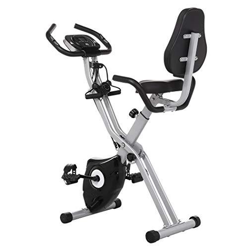 Profun Bicicleta Estática Plegable de Fitness con Respaldo Xbike con App Pantalla LCD 10-Niveles Ajustable para Ejercicio Entrenamiento en Casa (Gris+Respaldo)