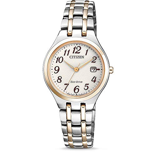 CITIZEN Damen Analog Solar Uhr mit Edelstahl Armband EW2486-87A