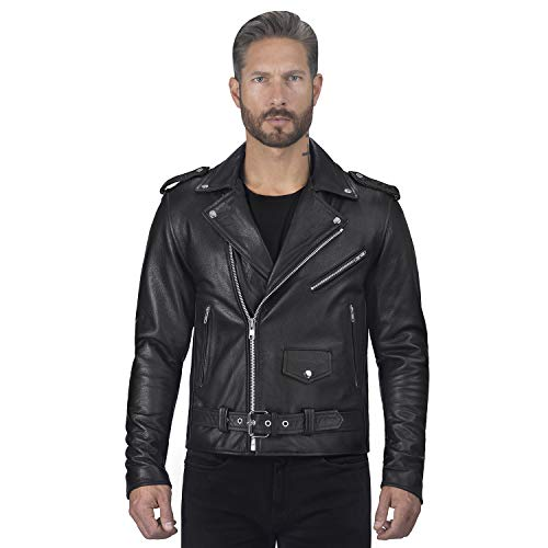 Viking Cycle Angel Fire Premium Grade Cowhide Leather Motorcycle Jacket for Men (X-Large) Black