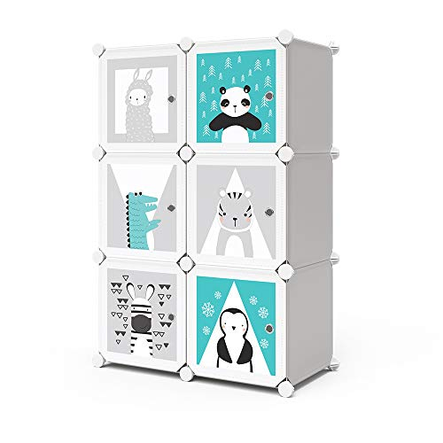 Vicco Kleiderschrank Andy Kinder modular Kinderregal Kleiderstange Steckregal (Grau, 6 Fächer - Panda)