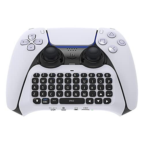 Tastatur für PS5 Controller, Bluetooth Tastatur Wireless Set für PS5, Wiederaufladbare Tastatur mit Lautsprechern, Chat-Pad Zubehör für Playstation 5