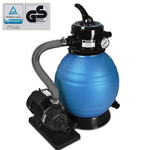 Deuba Pompa Filtro Piscina portata 10.200 l/h Filtro a Sabbia Pompa Filtro Depuratore Sabbia Serbatoio 20kg