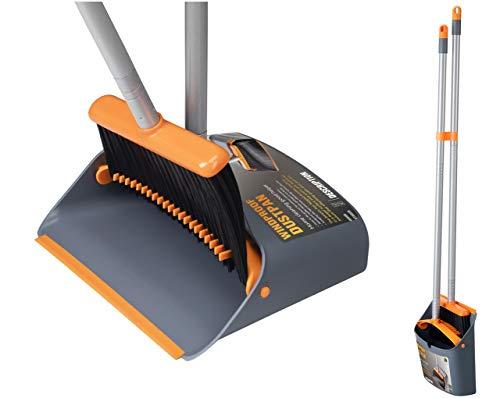 Jekayla Escoba y recogedor, barredora y recogedora de Polvo Combinados con una manija Extensible de 137 cm de Largo para el Barrido de Limpieza del hogar, Naranja