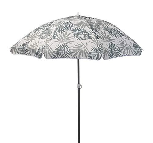 Meinposten. Sonnenschirm Strandschirm mit Blättern Ø 155 cm UV 30+ Schutz Schirm grün grau (Grau)