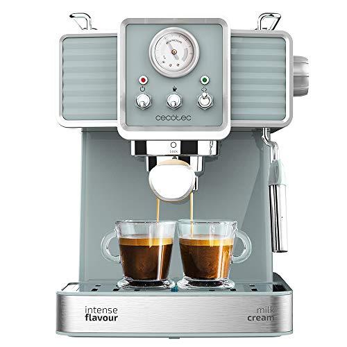 Cecotec Machine à Café Express Power Expresso 20 Tradizzionale pour expressos et capuccinos, Système de Réchauffement par ThermoBlock, 20 Bars, Manomètre PressurePro et Buse vapeur orientable