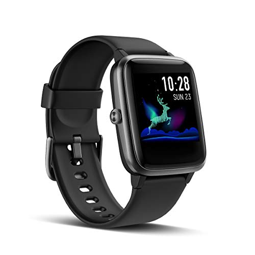 LATEC Smartwatch, Fitness Armband Voller Touch Screen Fitness Tracker IP68 Wasserdicht Fitness Uhr mit Pulsuhren Schrittzähler Schlafmonitor Damen Herren Armbanduhr Sportuhr für iOS Android (Schwarz)