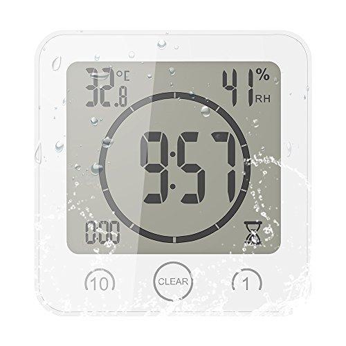 FORNORM Shower Clock Dusche Uhr Wasserdicht, Badezimmer Uhr Digital mit Saugnapf LCD Display Luftfeuchtigkeit Temperatur Wanduhren, AM/PM oder 24 Stunden Format, Batterien, Countdown Timer, Weiß