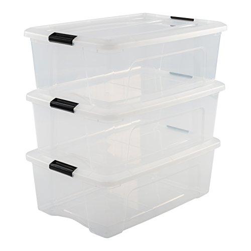 Iris Ohyama Set da 3 scatole di immagazzinaggio con chiusura a scatto, Materiale: Plastica,...