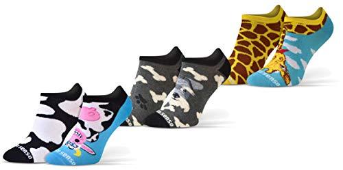 Sesto Senso Calzini Corti Divertenti Cotone Fantasia Calze Donna Uomo 1-3 Paia Funny Socks cane mucca giraffa 39-42 3 Animali