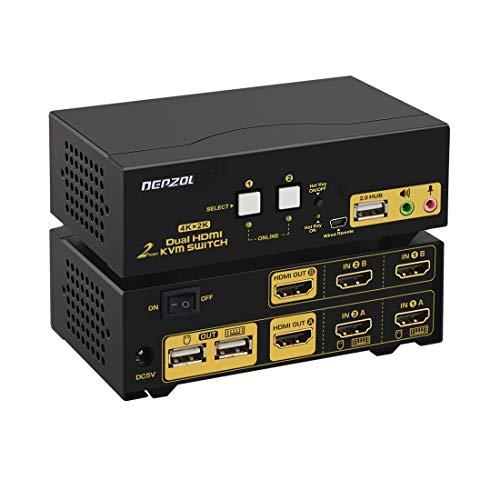DEPZOL HDMI KVM Switch Dual Monitor 2-Port Extended Display 4K @ 30Hz, Auswahlbox für Tastatur-Video-Maus mit Audio, USB 2.0-Hub und Kabelsätzen 922HUA