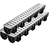 VEVOR Trench Drain System, Channel Drain with Metal Grate, 5.8x5.2-Inch HDPE Drainage Trench, Black Plastic Garage Floor Drain, 3x39' Trench Drain Grate, With 3 End Caps, For Garden, Driveway-3 Pack