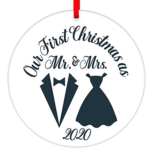 SICOHOME Christmas Ornament 2020, 3' Our First Christmas As Mr & Mrs,Newly Just Married Porcelain Christmas Tree Decorations, Wedding Ornament for Couples