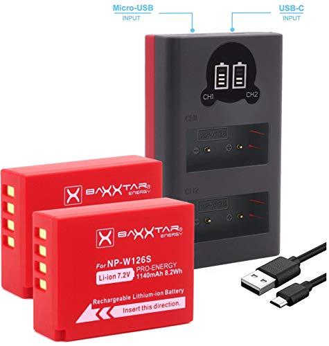 Baxxtar Pro (2X) Batteria compatibile con Fujifilm NP-W126s (NP-W126) + Mini 1855 LCD DUAL caricatore - (ingresso USB-C e MicroUSB)