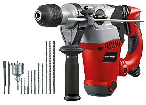 Einhell Bohrhammer-Set RT-RH 32 (1250 W, 3,5 J, Bohrleistung 32 mm, SDS-Plus-Aufnahme, Metall-Tiefenanschlag, 10 Bohrer, Bohrkrone, 2 Meißel, Koffer)