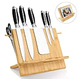 Bamboo Wood Magnetic Knife Block, Powerful Magnetic Knives Holder, Large Capacity Knife Organizer Block and Storage, Recipe Display Stand