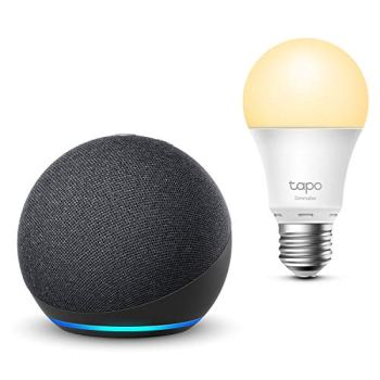 Nouvel Echo Dot (4e génération), Anthracite + TP-Link Tapo Ampoule Connectée (E27), Fonctionne avec Alexa