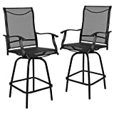 Flash Furniture Patio Bar Height Stools Set of 2, All-Weather Textilene Swivel Patio Stools and Deck Chairs with High Back and Armrests in Black
