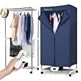 Sancusto Electric Clothes Dryer Portable 1000W Warm Air Drying Wardrobe with Remote Control Indoor Drying Rack Clothing Heater, Deep Blue