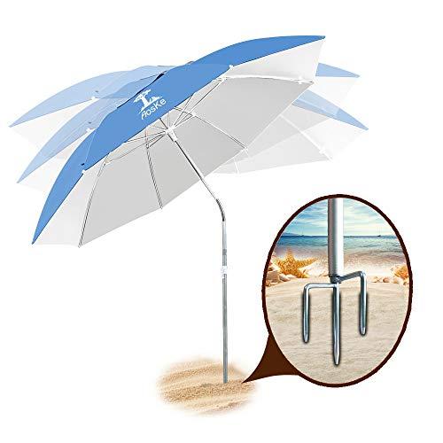 AosKe Terrassenschirm, Strandschirm, Sportschirm, tragbar, Sonnenschirm, schräg, Wärmeisolation, UV-Schutz, LSF 50+, himmelblau