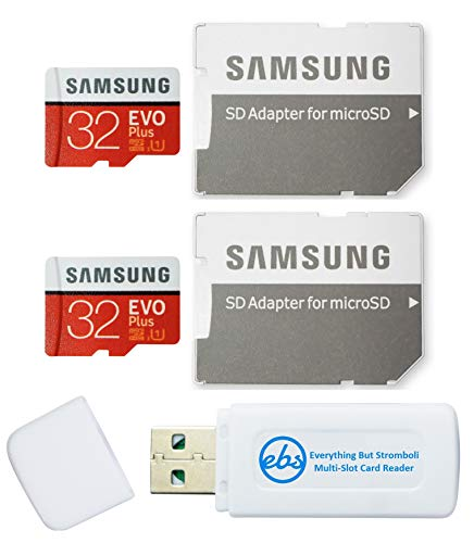 Samsung 32GB Evo Plus MicroSD Card (2 Pack EVO+) Class 10 SDHC Memory Card with Adapter (MB-MC32G) Bundle with (1) Everything But Stromboli Micro & SD Card Reader