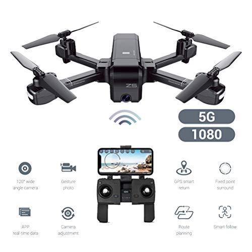 Creacom Quadcopter Drone rc Drone rc Quadcopter, Z5 Dual-Mode GPS Quadricottero Drone a Quattro Assi Riconoscimento gestuale Intelligente Telecomando Nero 5G