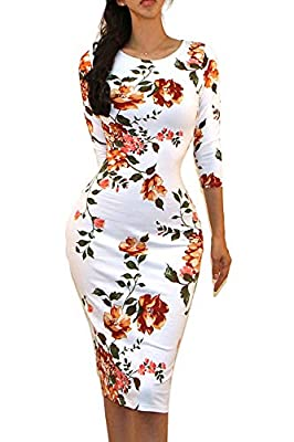 Made in USA Provides the most trendy and chic Dress which can be worn in all occasions Slim Fit, good quality Fabric, and making style make you feel good and comfortable. Hand or Machine Wash Cold Water. Pull-over 3/4 longsleeve midi Dress