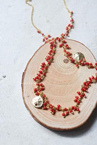 Collana ELBA in argento 925 placcato oro con palline di pasta di corallo rosso  made in Italy - ciondoli a forma di dollaro della sabbia