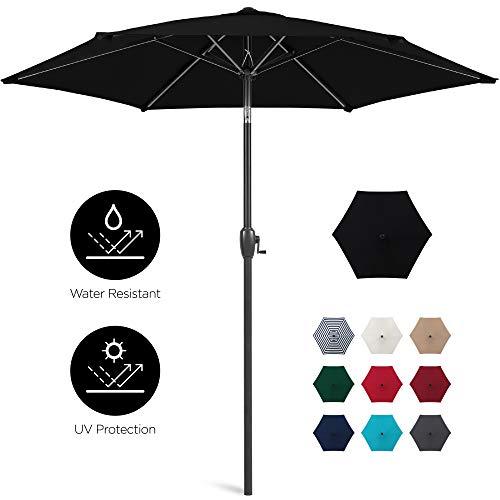 Best Choice Products 7.5ft Heavy-Duty Outdoor Market Patio Umbrella w/Push Button Tilt, Easy Crank Lift, Black