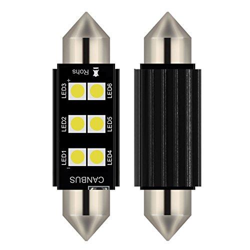 2pcs lampada a siluro FESTOON C5W 41MM LED bianco puro Canbus SMD Luce targa DC 12V 6000K (41MM)