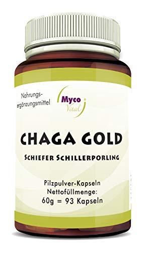 CHAGA Gold Pilzpulver-Kapseln   93 Pilz-Kapseln mit je 750mg hochwertigem Pilzpulver   Vitalpilz Pulver   Superfood 100% vegan (CHAGA Gold)