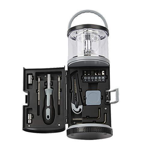 Luce multifunzione da campeggio 10 LED con kit di attrezzi per esterni per cassetta degli attrezzi, ideale per campeggio, escursionismo, pesca, ecc. (Black)