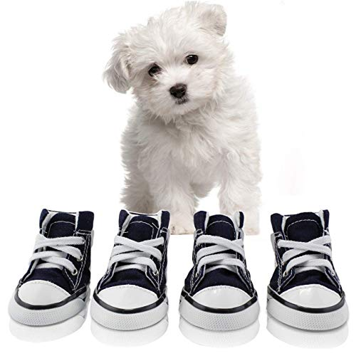 abcGoodefg Pet Dog Puppy Canvas Sport Shoes Sneaker Boots, Outdoor Nonslip Causal Shoes, Rubber Sole+Soft Cotton Inner Fabric #2(1.331.73), Dark Blue