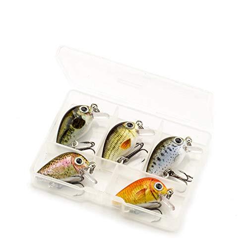 Njord Kalastus - Mini wobbler per trota, pesce persico, luccio, cavedano, luccioperca, extra piccolo solo 2,6 cm di lunghezza e 2 g di peso, esca per trote, 5 scatole galleggianti 4.