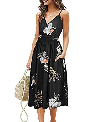 Spaghetti Strap, v-neck, A-line, floral patterned with both side pockets design, this v-neck pattern midi dress which is a necessary dress to all womens wardrobe. A good amount of stretch, breathable, skin-touch, makes you feeling relaxed and comfort...