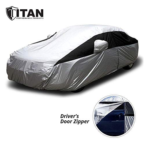 Titan Lightweight Car Cover for Camry, Mustang, Accord and More. Waterproof Car Cover Measures 200 Inches, Comes with 7 Foot Cable and Lock. Features a Driver-Side Zippered Opening for Easy Access.