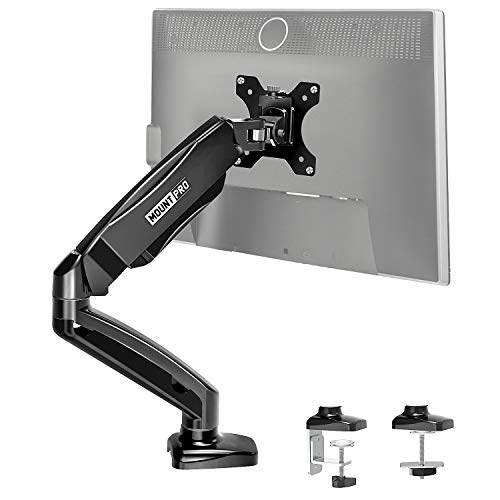 MOUNT PRO Single Monitor Desk Mount - Articulating Gas Spring Monitor Arm, Removable VESA Mount Desk Stand with Clamp and Grommet Base - Fits 13 to 32 Inch LCD Computer Monitors, VESA 75x75, 100x100