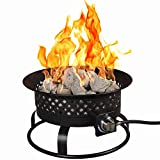 Bond Manufacturing 67836 54,000 BTU Aurora Camping, Backyard, Tailgating, Hunting and Patio. Locking Lid & Carry Handle Portable Steel Propane Gas Fire Pit Outdoor Firebowl, 18.5', Bronze
